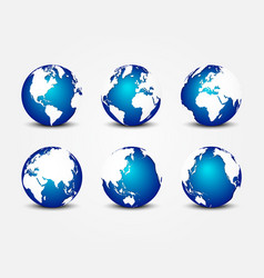 all side blue planet around world vector image