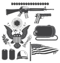 American patriotic elements set Weapons armor vector image