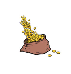 Bag of gold coins vector
