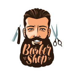 Barbershop logo or label portrait of happy man vector