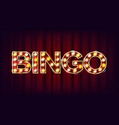 bingo banner casino glowing lamps for vector image