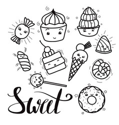 Black and white set of cute kawai sweets and vector