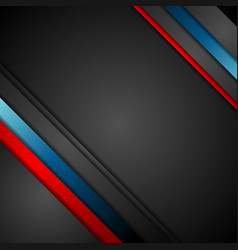 Black background with red and blue stripes vector