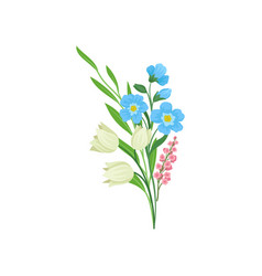 bouquet of spring flowers with green leaves vector image