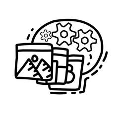business multitasking hand drawn icon design vector image