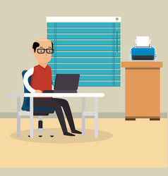 Businessman working in the office vector