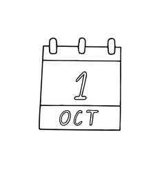 Calendar hand drawn in doodle style october 1 vector