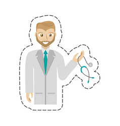 cartoon beard doctor holding stethoscope vector image
