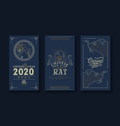 Chinese new year rat 2020 gold moon card set vector