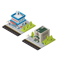 Cinema and bank isometric buildings vector