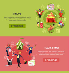 circus cartoon banner set vector image