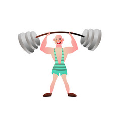 circus strong man that lift up big metal barbell vector image
