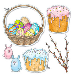 comic style colorful icons set easter vector image