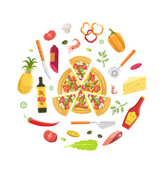 cooking pizza banner template with ingredients and vector image