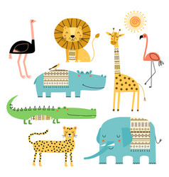 cute african animals set children drawings vector image