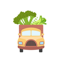 Cute truck delivering fresh giant broccoli and vector