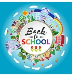 Decorative kids back to school round emblem poster vector image