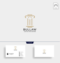 elegant pillar attorney logo line design template vector image