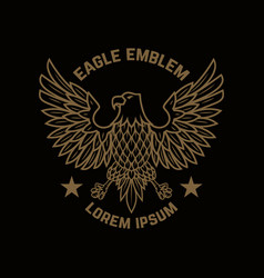 Emblem template with eagle in golden style design vector