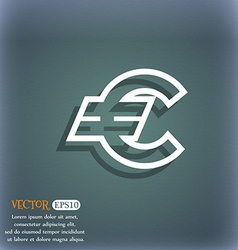 Euro EUR icon symbol on the blue-green abstract vector