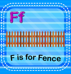 Flashcard letter f is for fence vector