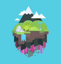 Floating island in the air flat design vector