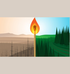 forest landscape before and after fire vector image vector image