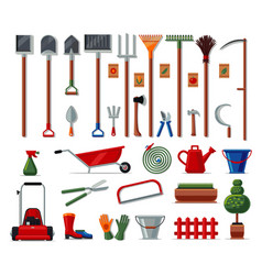Garden tools big set colored icons vector
