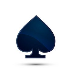 Glossy deep blue spades card suit icon on white vector