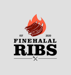 Halal barbecue ribs logo graphic label vector