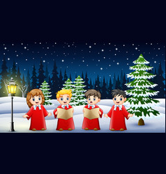 Happy kids wearing red costume singing in the snow vector