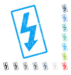 High voltage icon rubber watermark vector
