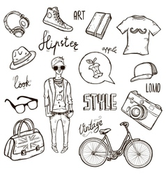 Hipster set vector image