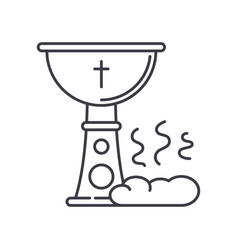 Holy communion icon linear isolated vector