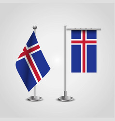 iceland country flag on pole vector image