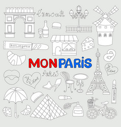 Icons set paris cuisine and traditional modern vector