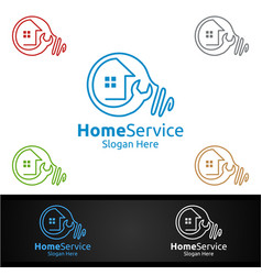 idea real estate and fix home repair services logo vector image
