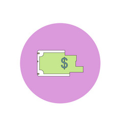 In flat design of torn dollar vector