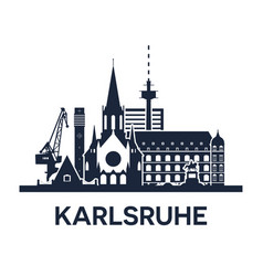karlsruhe gemany city skyline dark solid color vector image