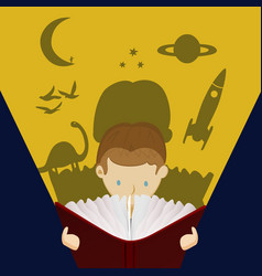 little boy kid reading fantasy story book vector image