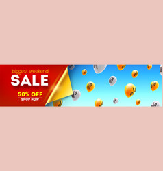 Long banner with biggest weekend sale special vector