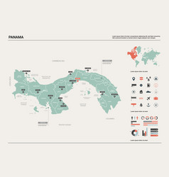 map panama country map with division cities vector image