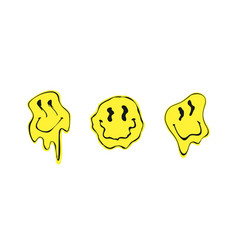 Melted smile faces in trippy acid rave style vector