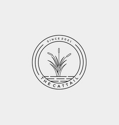 Minimalist cattails reed logo design vector
