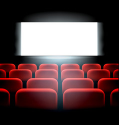 Movie cinema premiere screen with red seats vector