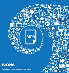 Mp3 icon Nice set of beautiful icons twisted vector