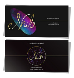 Nail care salon business card design vector