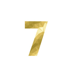 number 7 in gold color low poly polygonal vector image
