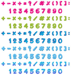 numbers and signs in three colors vector image