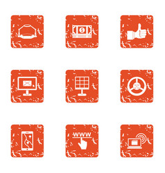 Online fun icons set grunge style vector